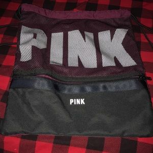 PINK VICTORIA SECRET DRAW STRING BACK PACK.